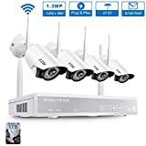 Cheap Wireless Security Camera System, A-ZONE 4CH 1080P WiFi NVR System with 4Pcs 960P Wireless Indoor Outdoor IP Cameras Night Vision, P2P, Easy Remote View, Pre-Installed 1TB Hard Drive