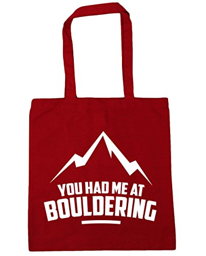 HippoWarehouse YOU HAD ME AT Bouldering bolsa de la compra bolsa de playa 42 cm x38 cm, 10 litros Classic Red