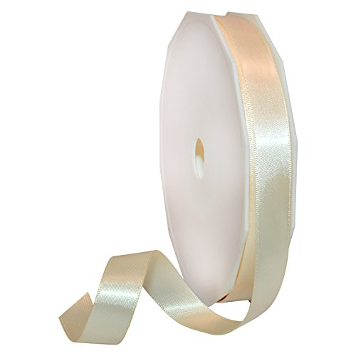 Morex Ribbon 08816/50-815 Double Face Satin Polyester Ribbon, 5/8-Inch by 50-Yard, Ivory