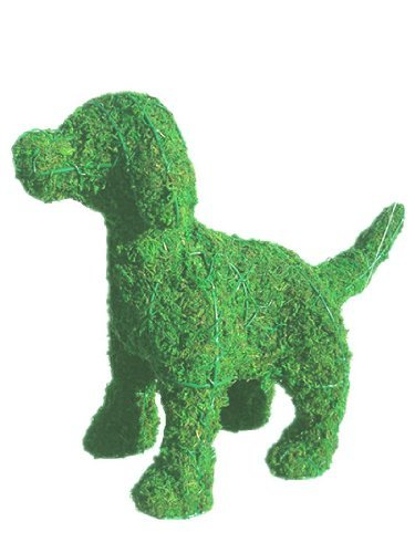 Dog Standing 11 inches high x 13 inches long x 5 inches wide w/ Moss Topiary Frame , Handmade Animal Decoration