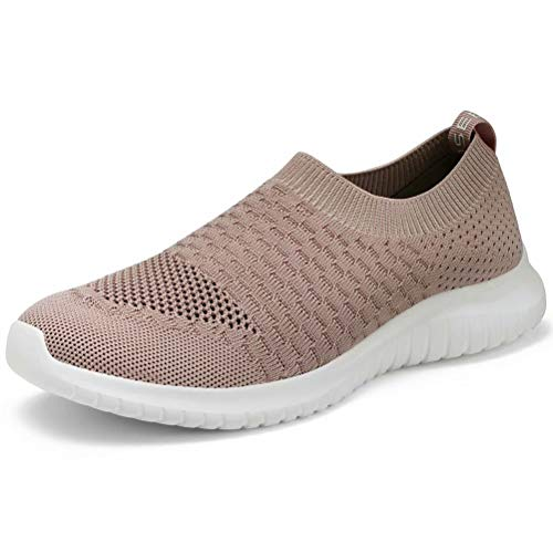 LANCROP Women's Lightweight Walking Shoes - Casual Breathable Mesh Slip on Sneakers 6.5 US, Label 37 Apricot