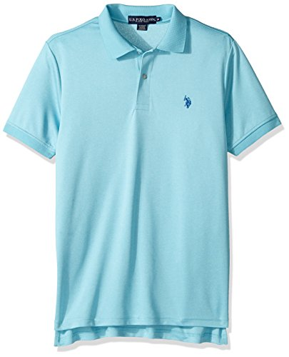 U.S. Polo Assn. Men's Classic Fit Solid Short Sleeve Stretch Poly Polo Shirt, artist Aqua Heather-8027, Small
