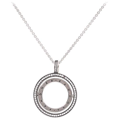 Pandora Logo Spinning Hearts Silver Necklace 397410CZ60 - Logo Silver Sterling Necklace