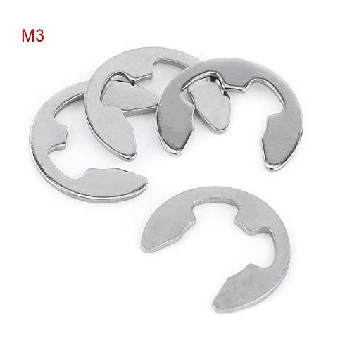 100Pcs Stainless Steel E-Clip, Circlip, C-Clip, Retaining Ring Snap Ring Assortment Kit (10 Sizes, 1.5-10mm)(M3)