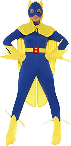 Superhero Couples Costumes Uk (Smiffy's Women's Bananaman Costume, Catsuit, Mask, Cape, Gloves & Boot Covers,)