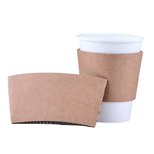 Luckypack 500 Piece Cup Sleeve Corrugated Jacket Cafe Drink Disposable Paper Coffee Cup Sleeves Reusable Holder Cardboard For Hot Drinks, 12 oz./16 oz./20 oz.