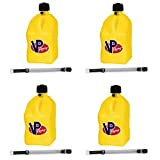 4 Pack VP 5 Gallon Square Yellow Racing Utility Jugs with 4 Deluxe Filler Hoses