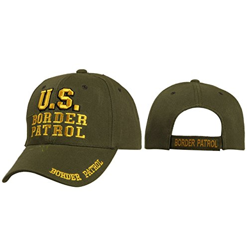 (US Border Patrol Mobile Law Enforcement Arm Uniform Style Baseball Cap Hat Black w/outline of the USA, (Army Green))