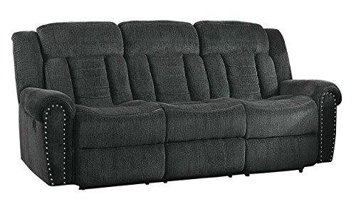 Homelegance Nutmeg Upholstered Double Reclining Sofa, Charcoal Gray