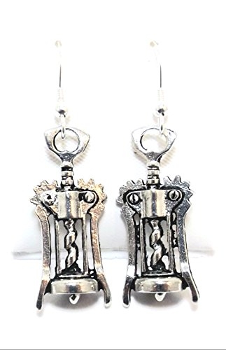 Pewter Corkscrew Charms on Hypoallergenic French Hook Dangle (Pewter Corkscrew)