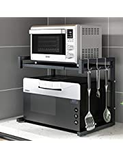 """Pusdon Extendable Microwave Oven Rack, Heavy Duty Adjustable Microwave/Toaster Shelf(L15.7~23.6""""xW14.2""""xH16.5""""), 2-Tier with 3 Hooks Kitchen Counter Top Organizer, 55lbs Weight Capacity, Black …"""