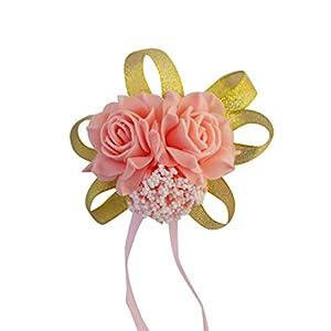 Creaon Women Artificial Rose Wrist Flowers Bride Bridesmaid Wrist Flower Artificial Floral Hand Flower Wedding Wrist Flower Wrist Corsage Exquisite Wedding Ribbon Flower for Wedding Decoration 68