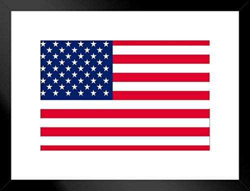 a0d9777a16e2 Poster Foundry United States of America USA American Flag Matted Framed  Wall Art Print 26x20 inch