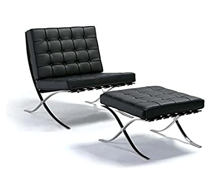 Merveilleux Happybuy Barcelona Style Lounge Chair And Ottoman Set PU Leather Mid  Century Modern Classic Cushioned Luxury