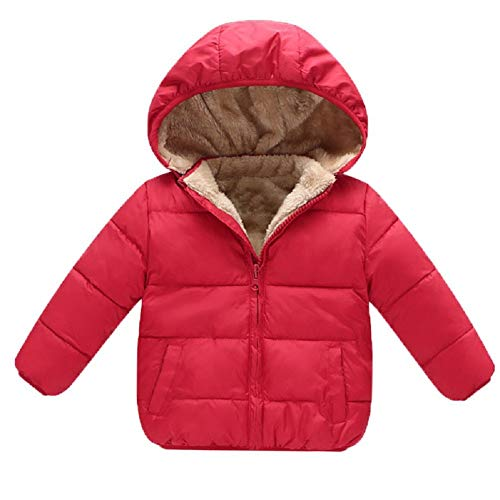 Goodkids Baby Girls Boys' Winter Fleece Jackets with Hooded Toddler Cotton Dress Warm Lined Coat Outer Clothing(Red 130) (Camo Winter Coat For Boys)