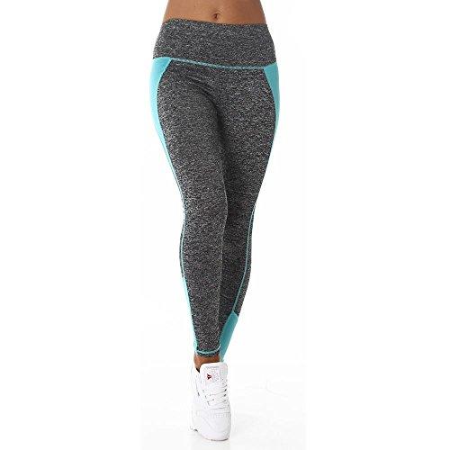 Damen Fitnesshose Sporthose Leggings dunkelgrau meliert zweifarbig abgesetzt elastischer Bund Farbe Minzgrün, Größe S-M (Etikett M-L)