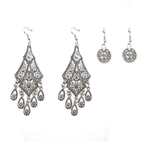 - Vintage Antique Inspired Filigree Chandelier Dangle Earrings-Statement Earrings for Women (Silver)