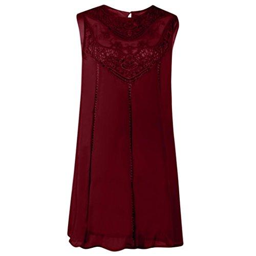 S Rond Mini Dress femme Sans Mousseline Dentelle t chic Rouge Manche POachers robe femme Col Robe 2XL Taille ZqgcBxwAKf