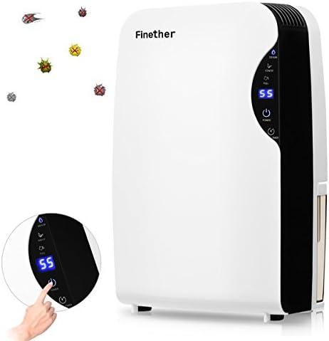 Finether Mini - Deshumidificador de aire portátil y silencioso con capacidad de 500 ml/día para moho y humedad en ...