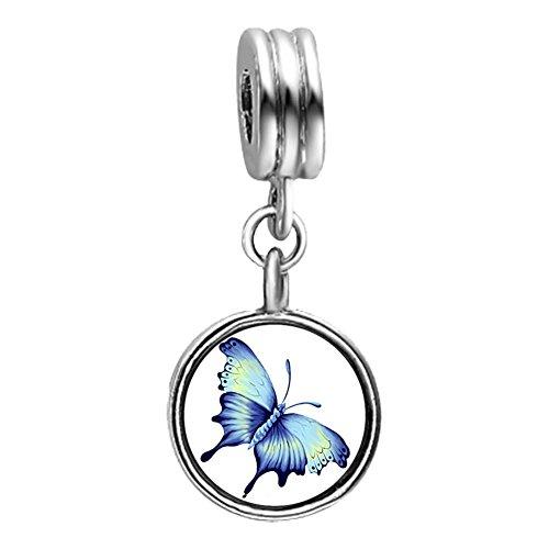 Beautiful Lovely Butterfly Light Amethyst Crystal June Birthstone Flower Dangle Charm Bracelets