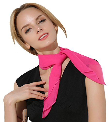 50 Outfits For Womens (Retro Classic Vintage Chiffon Scarves Pink)