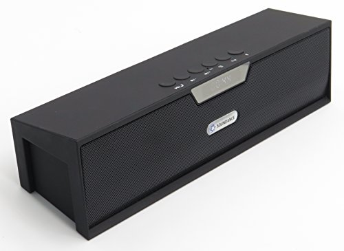Soundance Portable FM Radio Bluetooth Speaker Alarm Clock with Loud Sound Built-in Mic LED Screen, Support USB AUX MicroSD, Compatible with Alexa MP3 iPhone Android Computer Tablet, Model SDY019 Black
