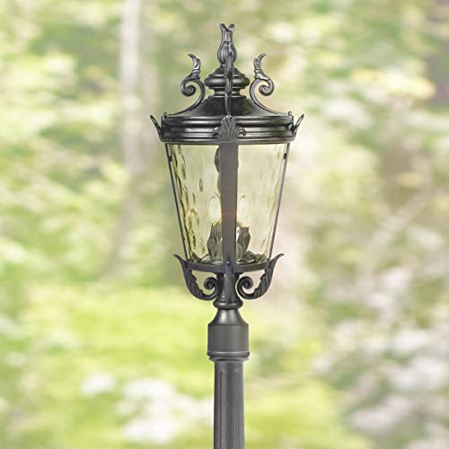 Outdoor Scroll Pier Mount - Casa Marseille Traditional Outdoor Post Light with Flat Base Pole Textured Black 99 3/4