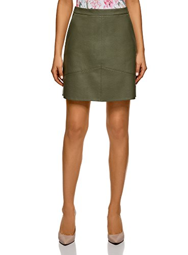 100% Leather Skirt - oodji Ultra Women's Faux Leather Trapeze Skirt, Green, 10
