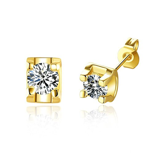 ptk12 Yellow Gold Colour Small Clear Round Cupid Cut Zircon AAA+ CZ Stud Earrings Jewelry for Women - Cupid Yellow Ring
