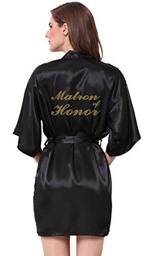 JOYTTON Women Wedding Party Satin Kimono Robe With Gold Glitter Matron Of - Black Peignoir