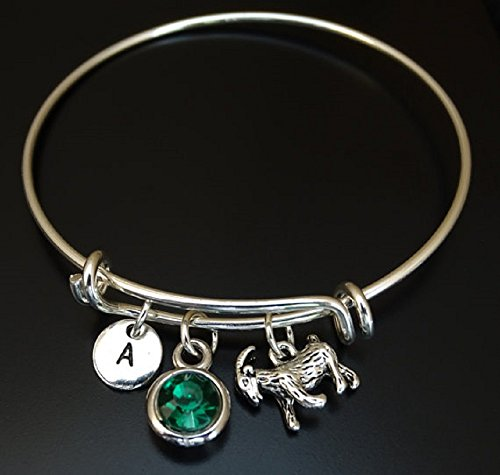 Goat Bracelet, Goat Bangle, Goat Charm, Goat Pendant, Goat Jewelry, Farmers Wife, Farmers Daughter, Farmer Gift, Goat Gift, PERSONALIZED, INITIAL LETTER, BIRTHSTONE