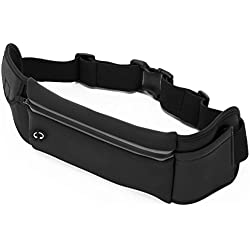 MoxyBelt Running Belt Waist Pouch for Phones up to iPhone 8 Plus & Galaxy S8. Water Resistant Runners Belt Great for Hiking & Fitness. Adjustable Waistband & Zippered Pocket in Black