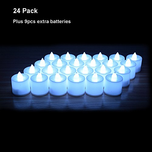 24 Pack LED Tea lights Candles – Steady Flameless Tealight Candle – Battery Operated Electronic Fake Candles – Decoration for Wedding, Party, Dating and Festival Celebration (Decorative Votive Candles)