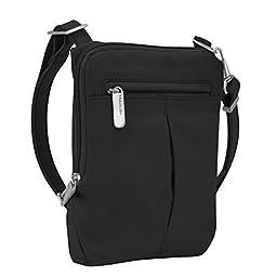 Travelon Anti-Theft Classic Light Mini Crossbody Messenger Bag, Black