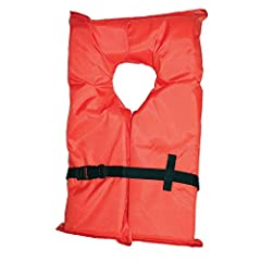 Basic flotation for the boating enthusiast. Designed specifically to provide minimum buoyancy and turn an unconscious person face up in calm water situations. Less bulky and more affordable than a Type I offshore life jacket. U.S. Coast Guard...