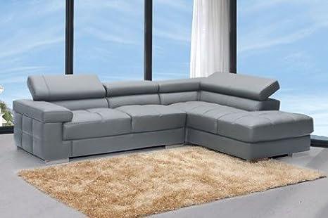 Sofá chaise longue a la derecha reclinable en piel grabada ...