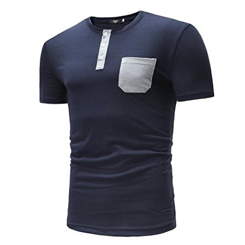 GREFER New Men's Summer Casual Pocket Solid Button T-shirt Short Sleeve Top Blouse by GREFER (Image #1)