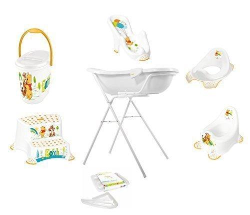 9er Set Z Disney Winnie Pooh weiß Badewanne XXL 100 cm + Badewannenständer + Badesitz + Topf + WC Aufsatz + Hocker + Windeleimer + Ablaufschlauch + Waschhandschuh OKT Kids