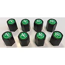 8 Black..(Nitrogen) VALVE CAPS - N2-Nitro. Inlayed..TPMS Safe..w/ Window Decal