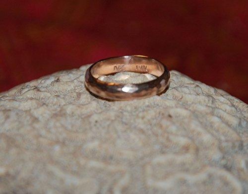 14kt Rose Gold Flat hammered 5mm Domed Wedding - Wedding Band Domed Hammered