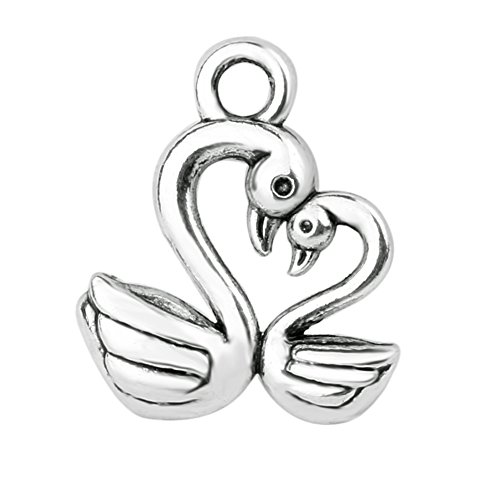 20 Pieces Swan Mom and Baby Heart Love Powers Charms Findings Jewelry Pendants Necklaces Making 13 X ()