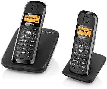 Siemens Gigaset AS180 Duo - Teléfono fijo digital (inalámbrico, pantalla LCD, 2 unidades), negro: Amazon.es: Electrónica