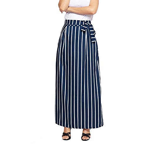 DEATU Womens Skirt Ladies Casual Chiffon Classic Striped Ankle-Length Empire Lace-Up Vintage Long Skirt(Dark Blue,XL) ()