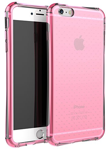 iPhone 6S Plus Case, E LV iPhone 6 Plus Case Cover - Clear Soft Rubber Hybrid Armor Defender Protective Case Cover for iPhone 6S Plus/6 Plus with 1 Stylus, 1 Screen Protector and 1 Microfiber Cleaning Cloth - HOT PINK