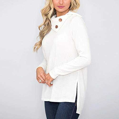 Women's Fall Skew Pullover Blouse White Long XOWRTE Collar Tops Botton Sleeve Sweatshirt a1C1Zq