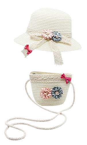 Bienvenu Straw Hats Kids Sun Hats Summer Beach Hats Straw with Pocket Bag Set,Hat Bag Set_White