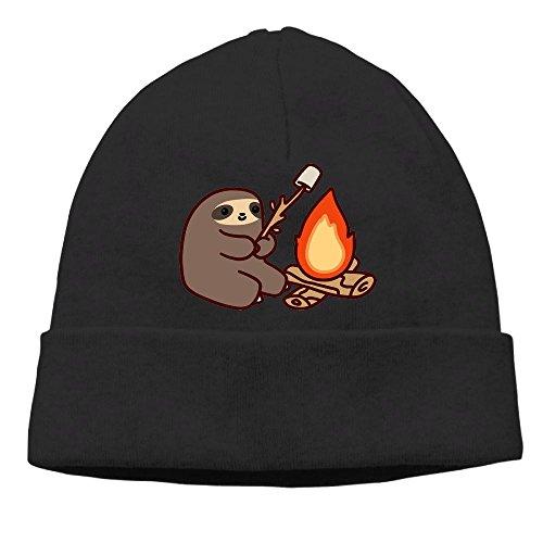 AKKK47 Campfire Sloth Unisex Daily Solid Knit Cap Beanie Tha