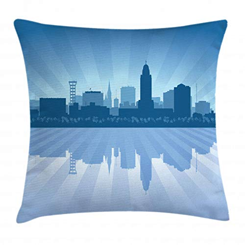 Ambesonne Nebraska Throw Pillow Cushion Cover, Lincoln City Skyline Silhouette Illustration in Blue Metropolis Buildings, Decorative Square Accent Pillow Case, 26