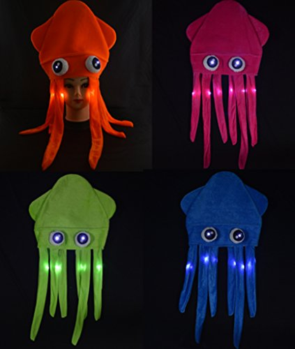 Light Up Flashing Squid Hat - 4 Pack - Tons of Fun for That Party!]()