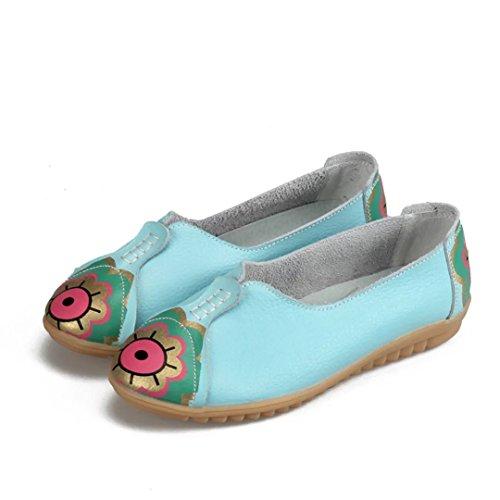 Kjære-dronning Womens Blomsterdesign Rund Tå Kjøre Sko Kuskinn Tilfeldige Loafers Båt Sko Flats Blå
